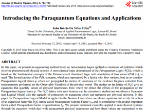 "Artigo ""Introducing the Paraquantum Equations and Applications"""