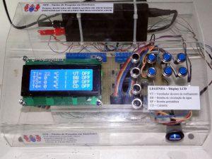 O painel de controle da bancada automatizada